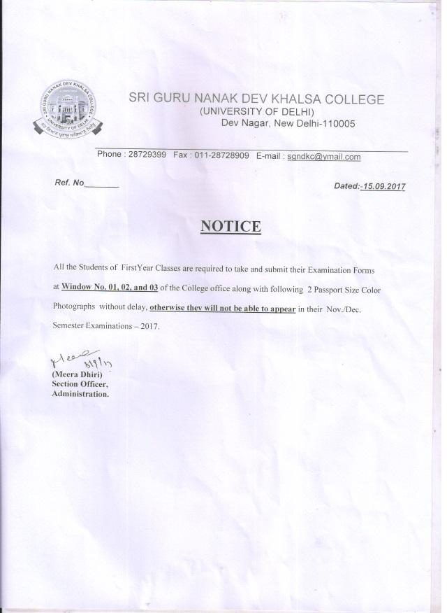 Sri guru nanak dev khalsa college notice for examination form altavistaventures Choice Image